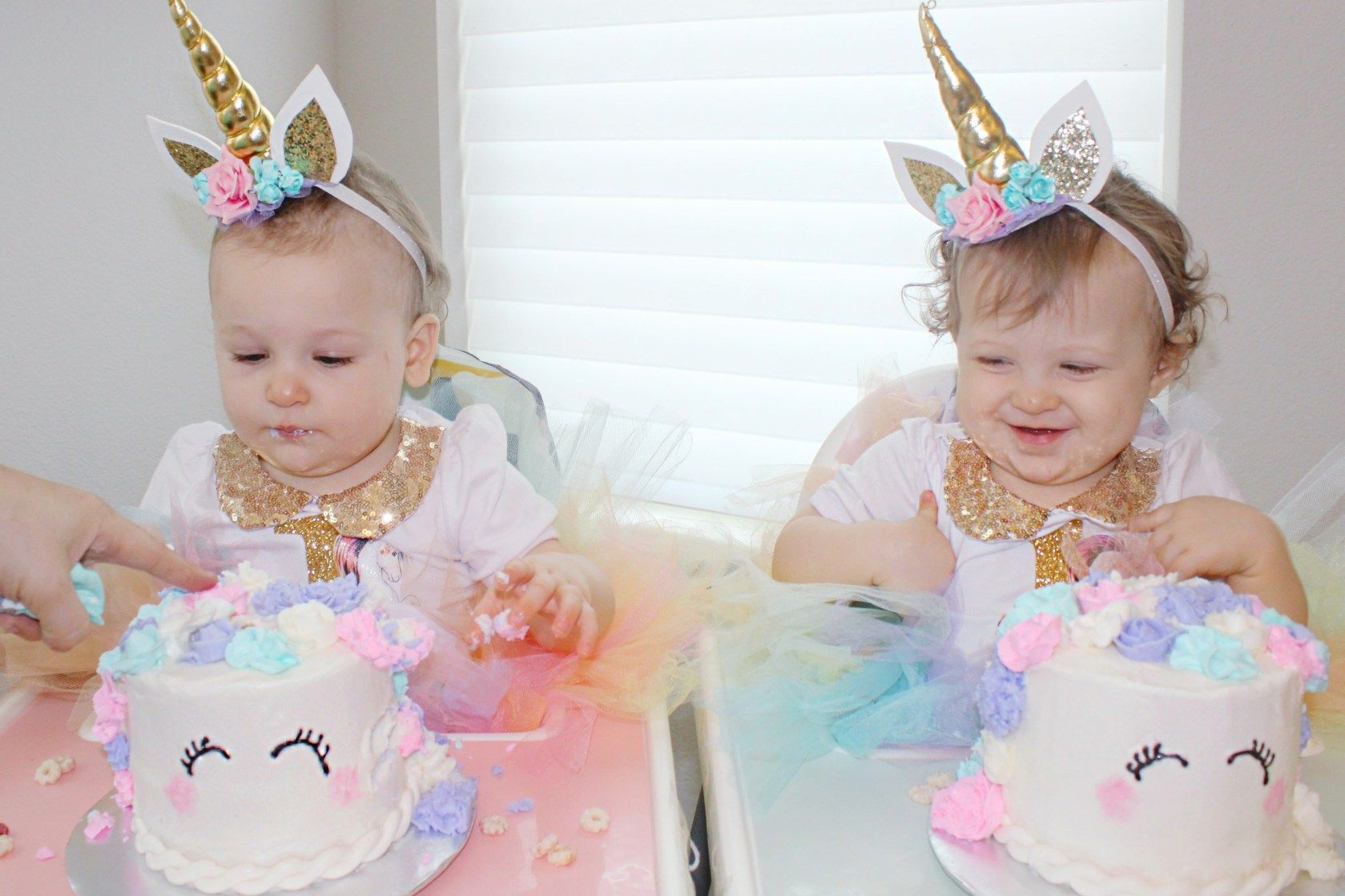 Pastel Unicorn First Birthday Party - Girls birthday party themes, 1st birthday party decorations, Twin birthday parties, Unicorn birthday outfit, First birthday party themes, Unicorn themed birthday - We threw a magical unicornthemed birthday party for our twin girls first birthday! I'm sharing easy tips for throwing a fun unicorn birthday!