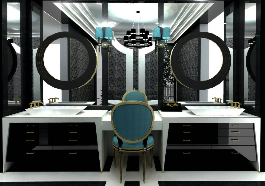 My Final Vanity Design For Coco Chanel Inspired Bathroom Black And White