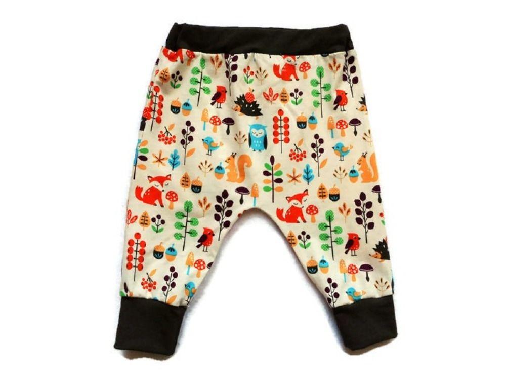 2848bcc2b03c0 Pantalon Bébé Coton Biologique Sarouel Bébé 12 mois Animaux de la Forêt  Ecru Jersey Sarouel Fille