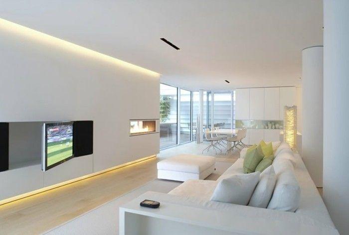 Schöne Wohnzimmer ~ Schönes wohnzimmer weiße wände led beleuchtung heller bodenbelag