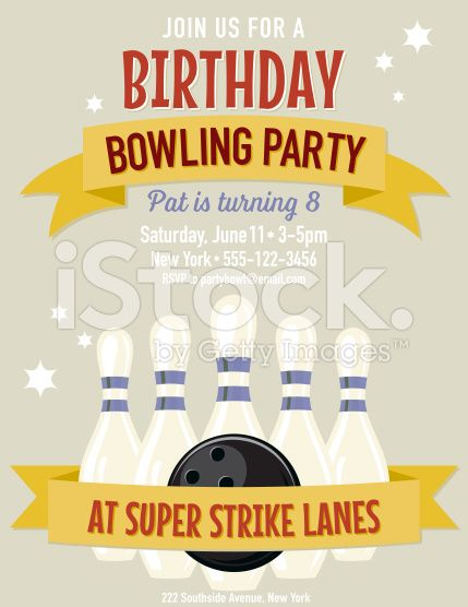 retro style bowling birthday party invitation template there is a