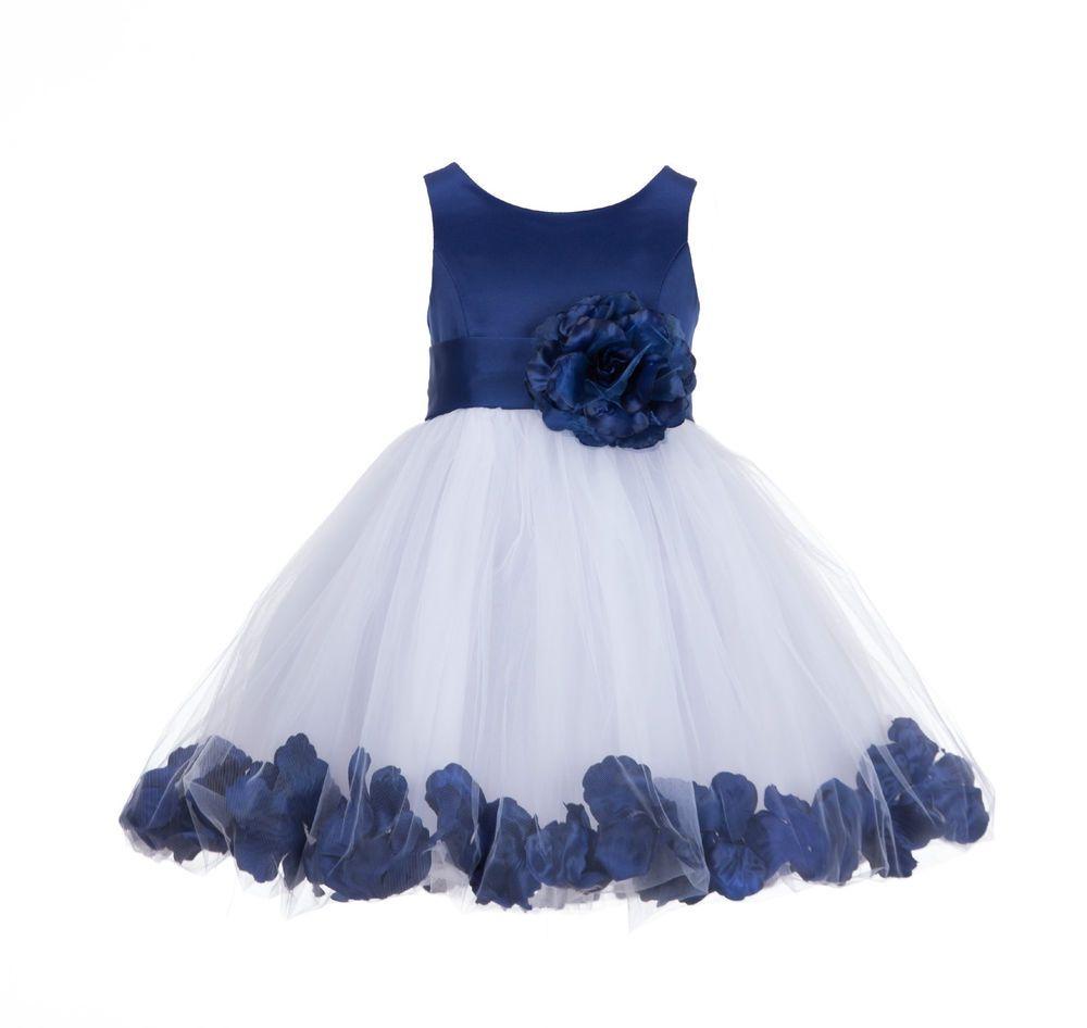 Details about wedding pageant rose petal flower girl dress