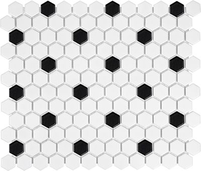 51 071 White Black Matte Hexagon Porcelain Mosaics White Black Matte Hexagon Porcelain Mosa Hexagon Mosaic Tile Porcelain Mosaic Tile Porcelain Mosaic