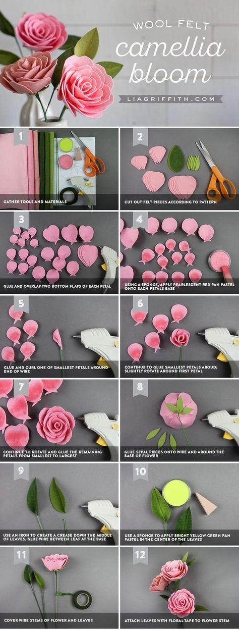 Create A Camellia Diy Felt Flower With Pan Pastel Details Felt Flowers Diy Felt Flower Tutorial Fabric Flowers