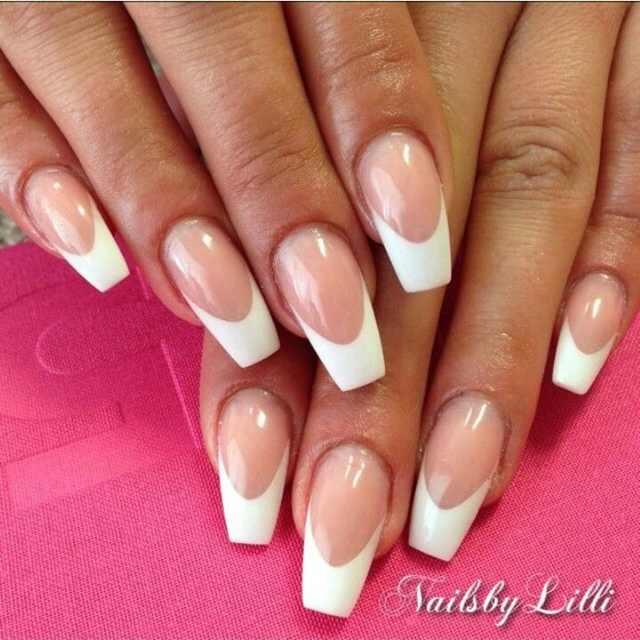 Coffin French Tip French Tip Acrylic Nails Coffin Shape Nails French Acrylic Nails