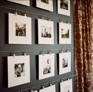 Diy Deco Comment Accrocher Des Photos Avec Style Accrocher Des Photos Decoration Salon Tableau Idee Deco Mur Salon