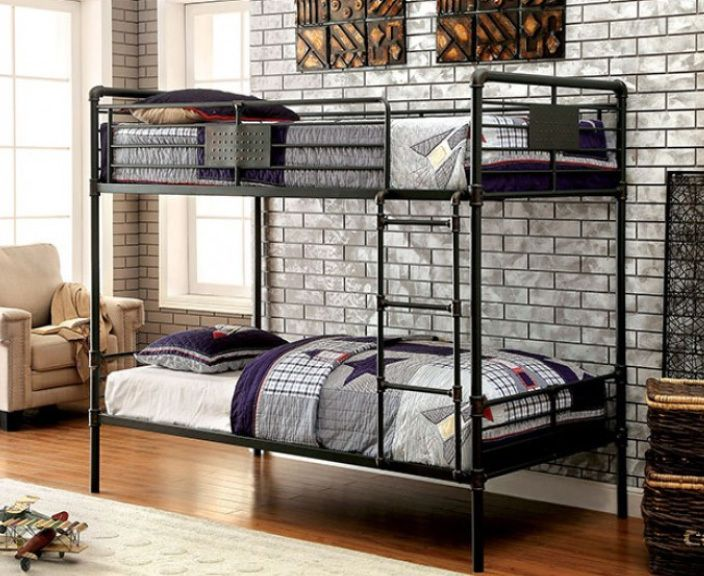 Furniture Of America Industrial Piping Twin Metal Bunk Bed Metal