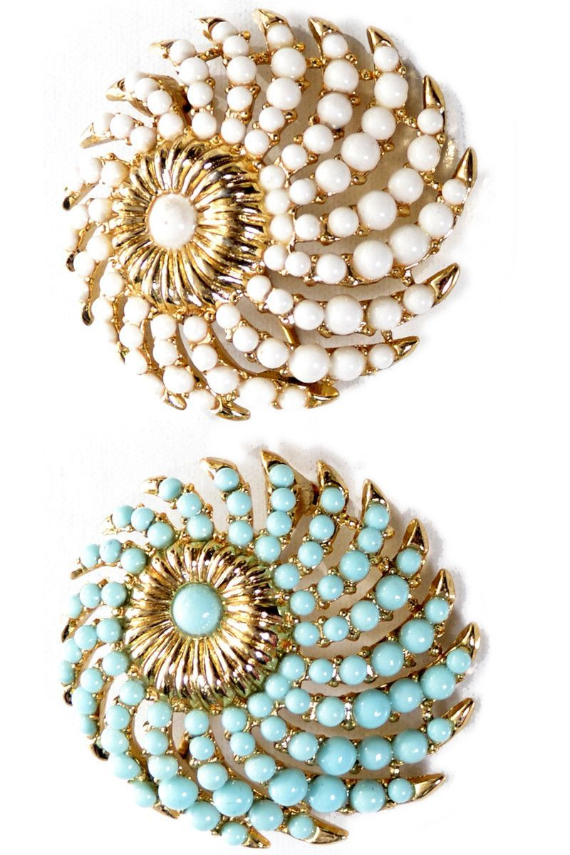 2 Crown Trifari Faux Turquoise and White Vintage 1950's Brooches