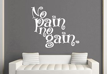No Pain No Gain Wall Decal Quote -
