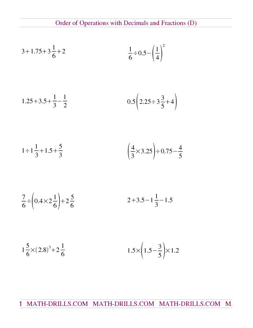 Order of Operations with Decimals and Fractions Mixed (D) | Math ...