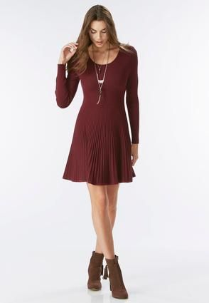 a1c71debd9 Plus Size Dresses. Cato Fashions Ribbed Fit and Flare Sweater Dress-Plus   CatoFashions