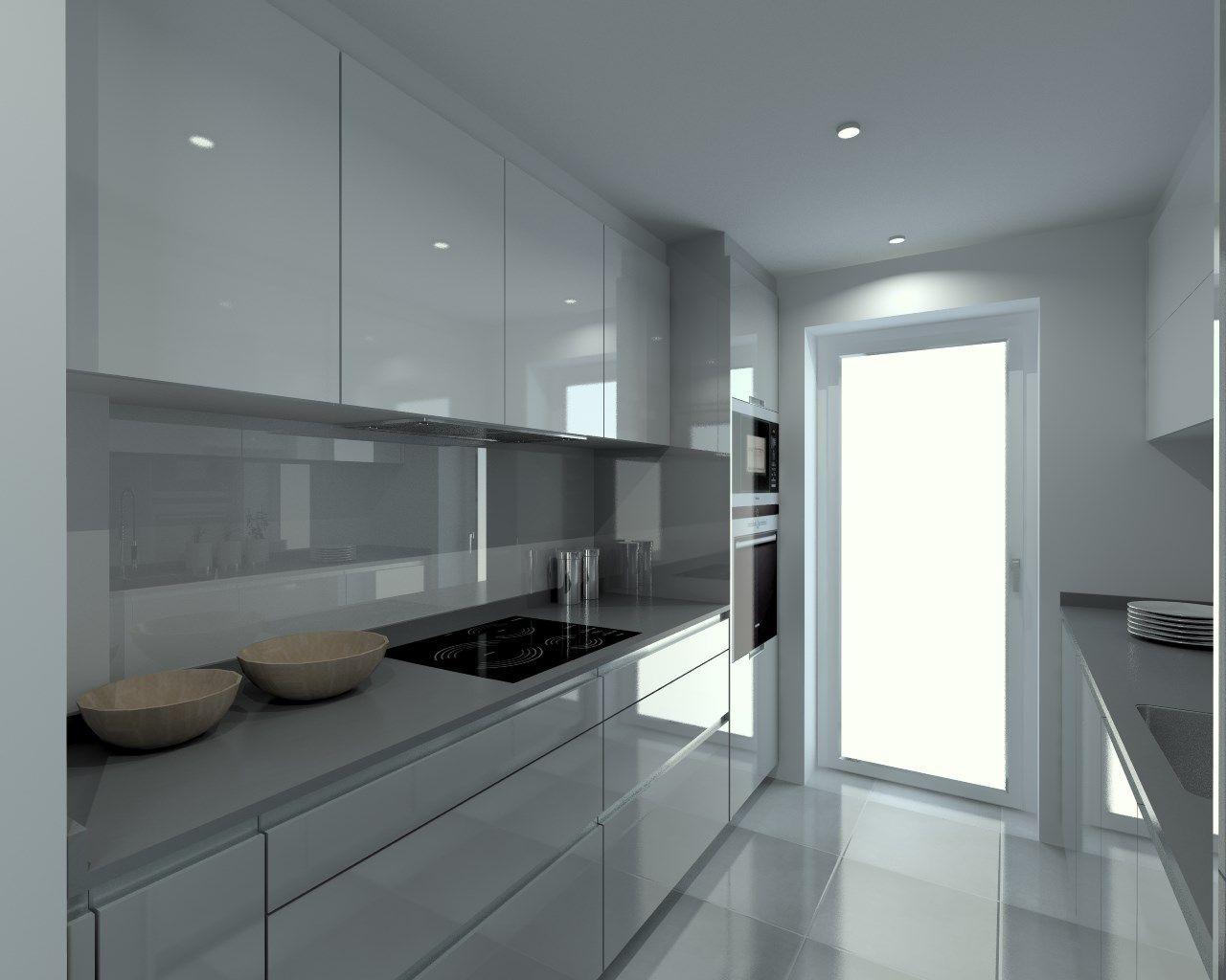 Cocina santos modelo line laminado brillo gris piedra - Cocinas blancas brillo ...