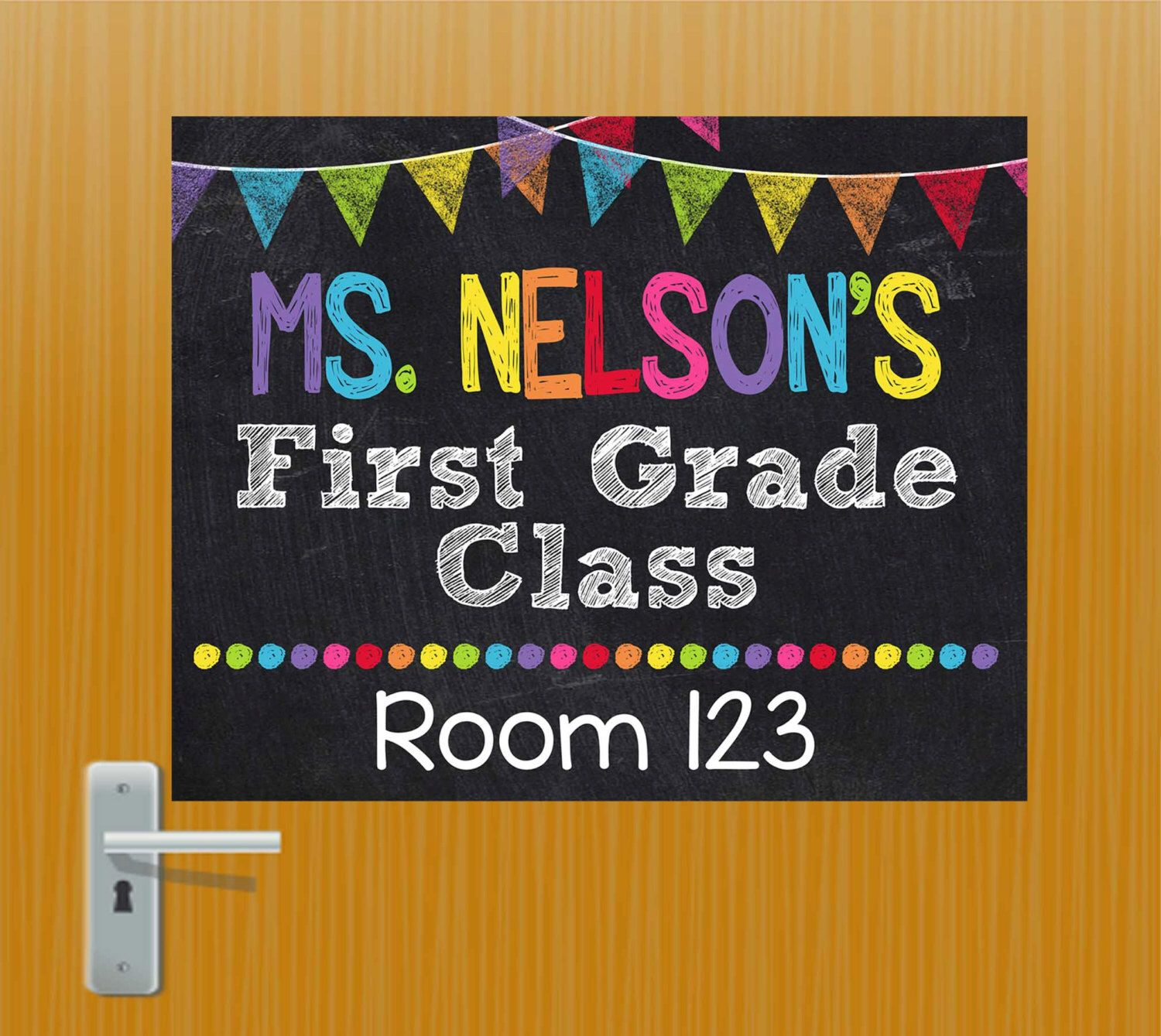 Teacher Door Sign, Personalized Teacher Sign, Classroom Door Sign, Teacher Classroom Decor, Teacher Name Sign, Teacher Christmas Gift, Room by KidsPartyPrintables on Etsy https://www.etsy.com/listing/241084179/teacher-door-sign-personalized-teacher