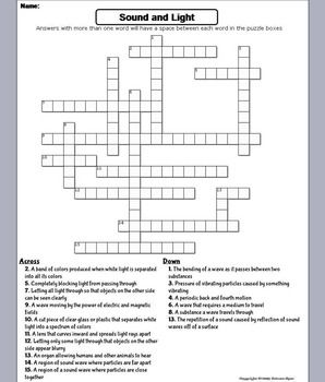 Properties Of Sound And Light Waves Worksheet Crossword Puzzle