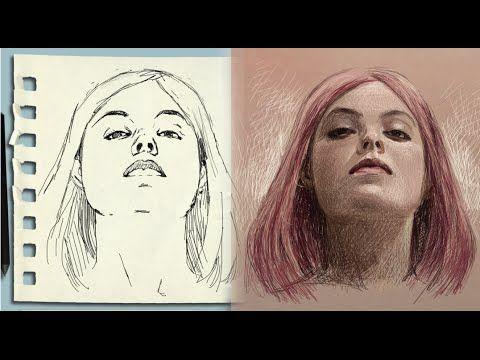 como dibujar la cara en escorzo realista mujer (cara levantada) - YouTube