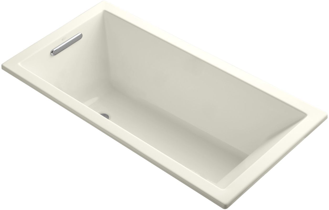 "Kohler K-1121 Underscore Collection 60"" Drop In Deep Soaker Bath Tub with Slotte Biscuit Tub Soaking Drop-In"