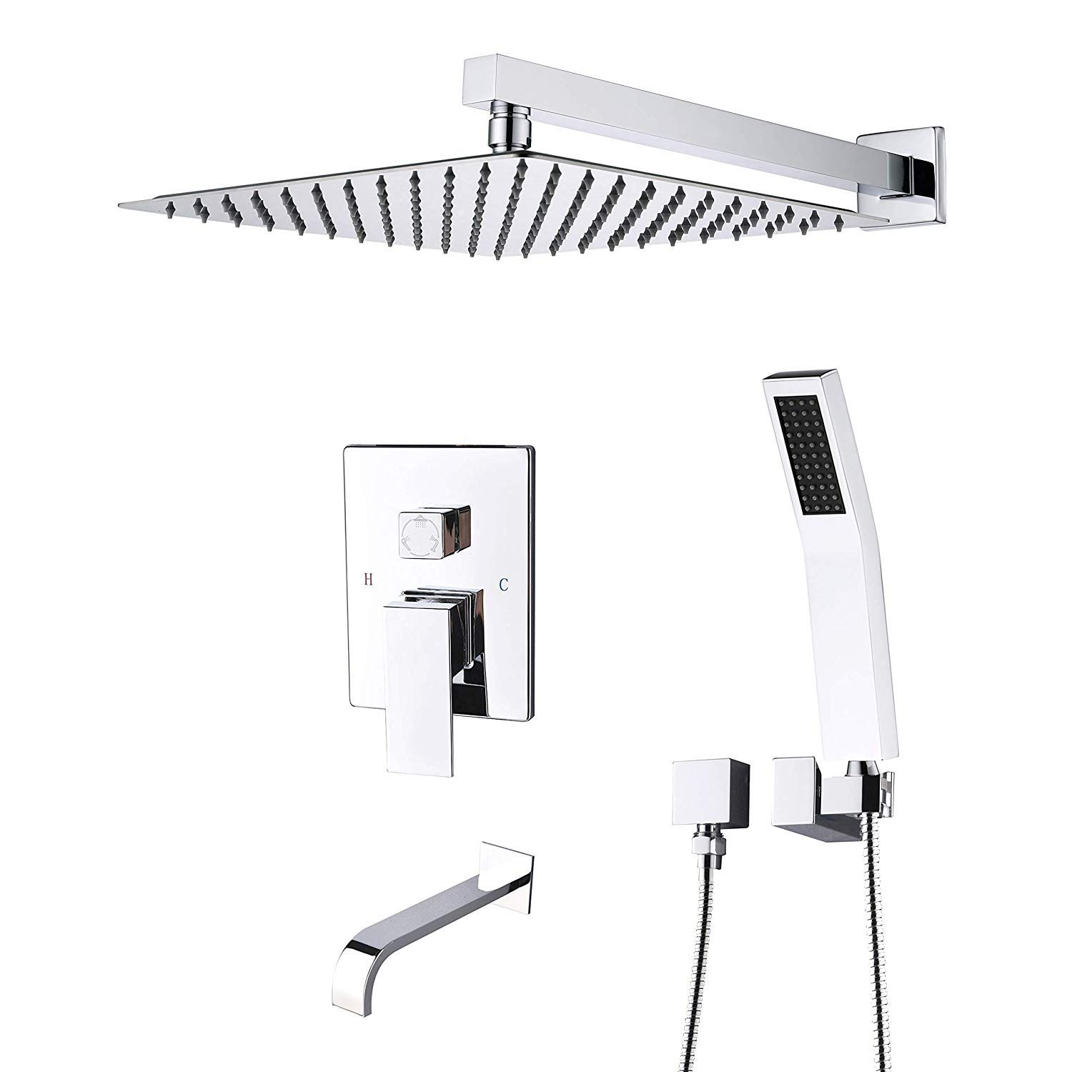 Artbath Shower System Shower Faucet Set With Tub Spout For Bathroom And 10 Inch Square Rain Shower Head Shower Faucet Sets Shower Faucet Tub And Shower Faucets