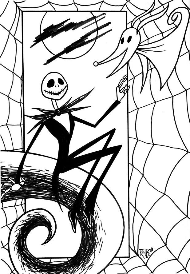 Jack Nightmare Before Christmas Coloring Pages Christmas