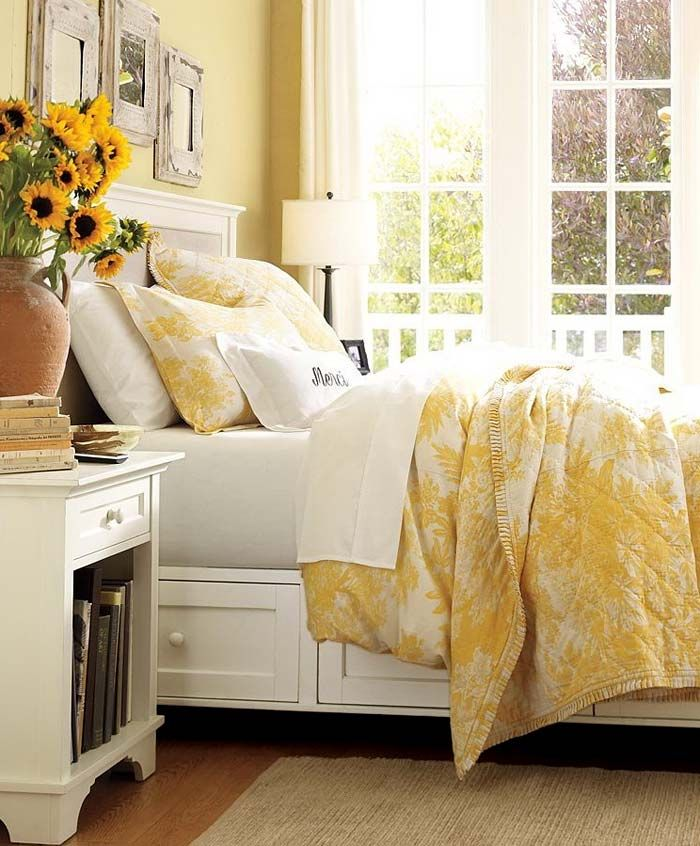 yellow walls and SUNFLOWERS for bedroom... happy, happy | Bedrooms ...
