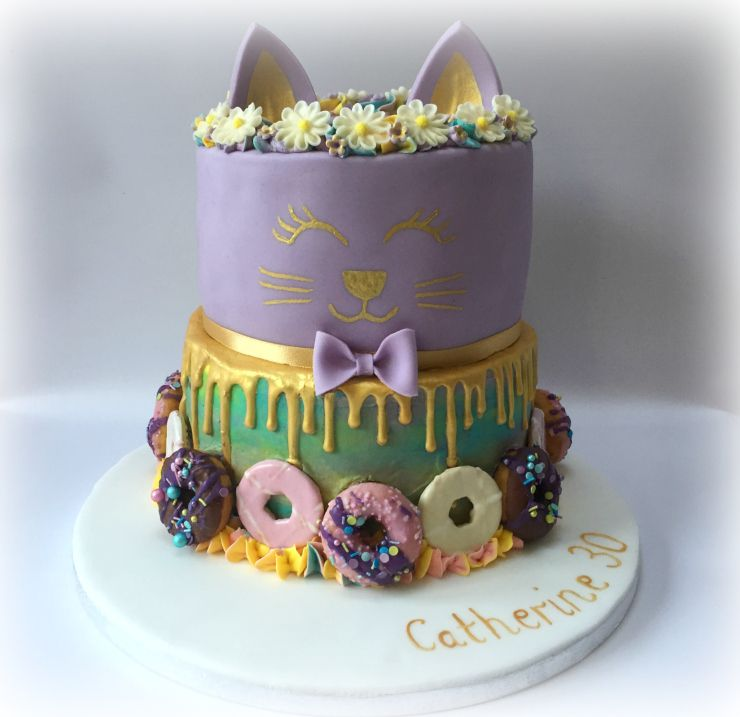 Birthday Cakes Cat Face Cake 2 Tiered 8 Inch And 6 Vanilla Sponges With Buttercream Raspberry Jam Filling