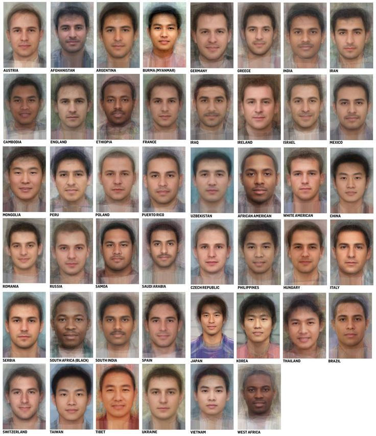 These handsome dudes don't actually exist! For each face, many faces of men of a particular ethnicity/nationality were combined digitally, resulting in an aesthetically pleasing and symmetrical face that typifies a face from that region.