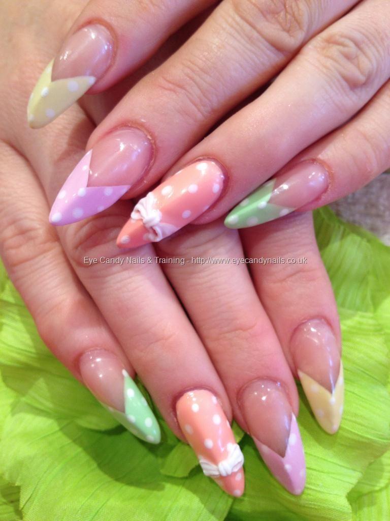 Polka dot nail art with 3D bow nail art | Nailed it | Pinterest ...