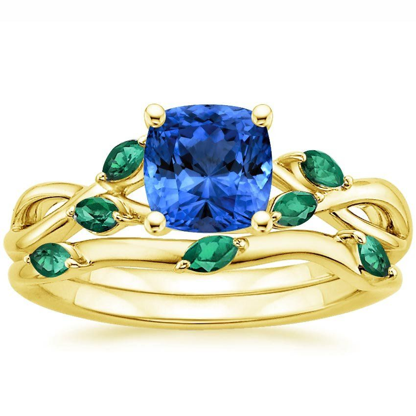 a206cdc2000cc Blue Sapphire Willow Bridal Set With Lab Emerald Accents Engagement ...