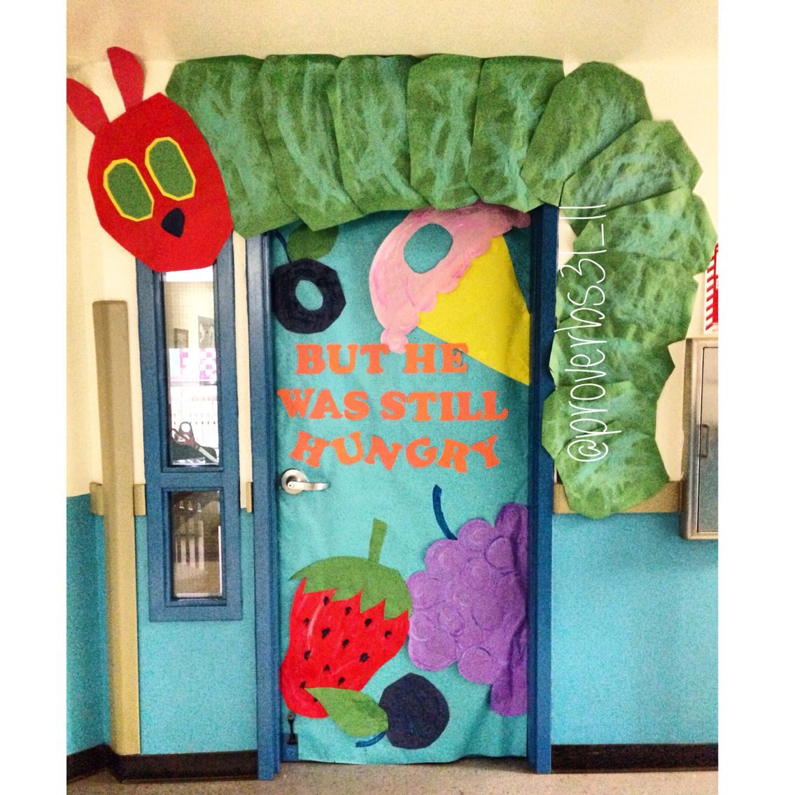 The Very Hungry Caterpillar themed classroom door.   la oruga ...