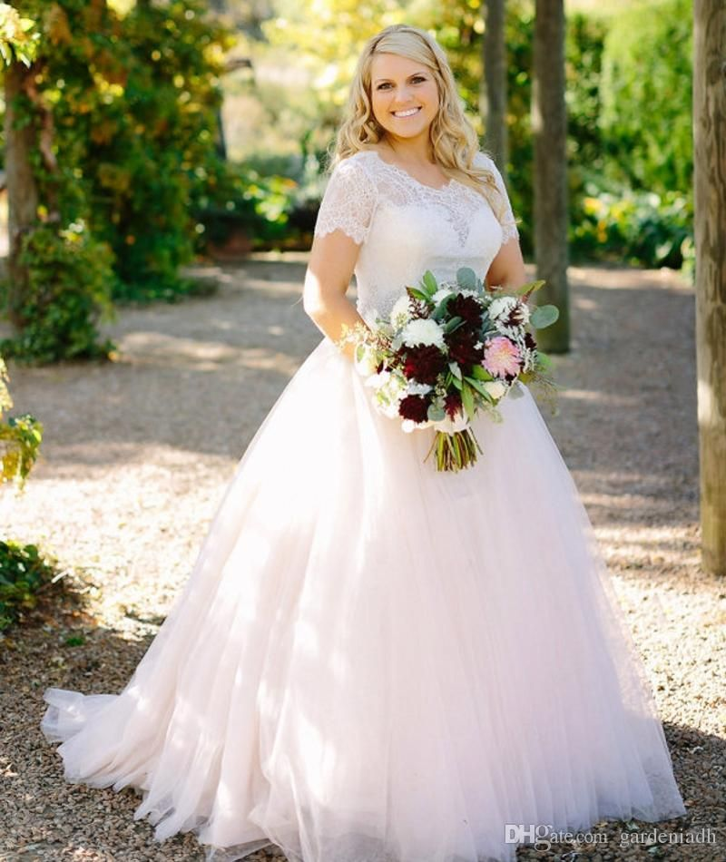 Red And White Wedding Dresses With Sleeves: Blush Pink Peplum Wedding Dress Lace Long Sleeved Puffy