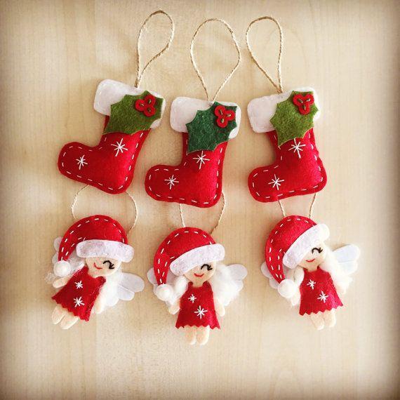 6 Christmas Ornaments Part - 41: Christmas Decor. Set Of 6 Christmas Ornaments. Handmade Felt Ornaments. New  Year Ornaments