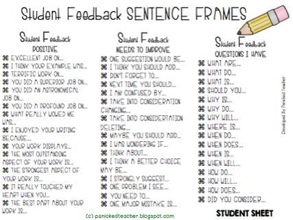 Great for student feedback! Cooperative Classroom Pinterest - student feedback form in doc