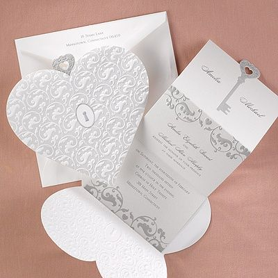 Key to Love - Invitation This white shimmer card features a silver ...