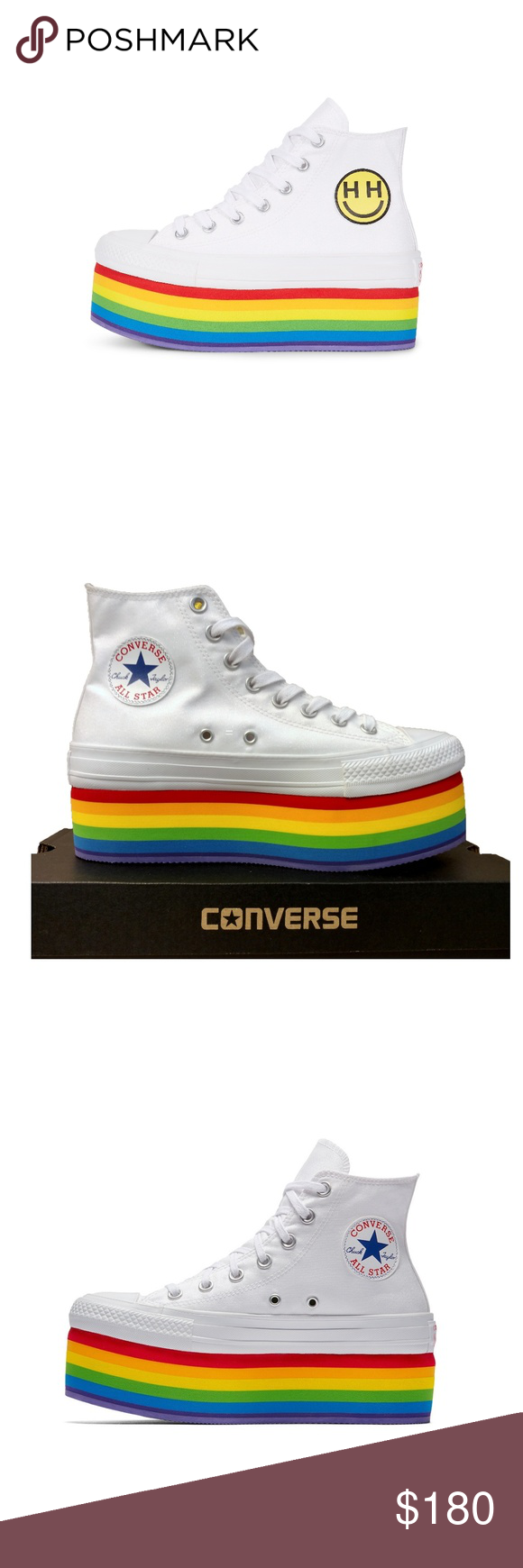 dbb6543d0f6 Converse PRIDE x Miley Cyrus Chuck Taylor Shoes Condition: Brand new with  lidless box Size: US Women's 8 Color: White | Red | Yellow | Blue | Rainbow  Style: ...