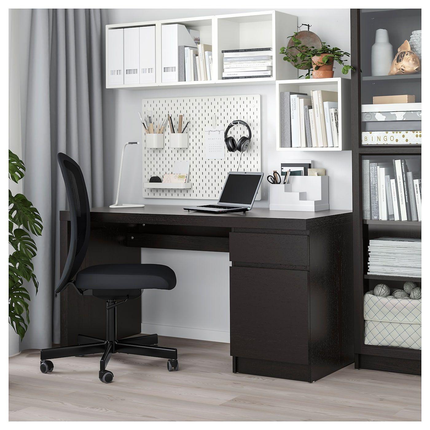 """MALM Desk, black-brown, 55 1/8x25 5/8"""" - IKEA"""