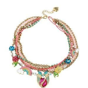 Official Betsey Johnson Women's Fairyland Charmy Multi ROW Necklace #fashion #necklace
