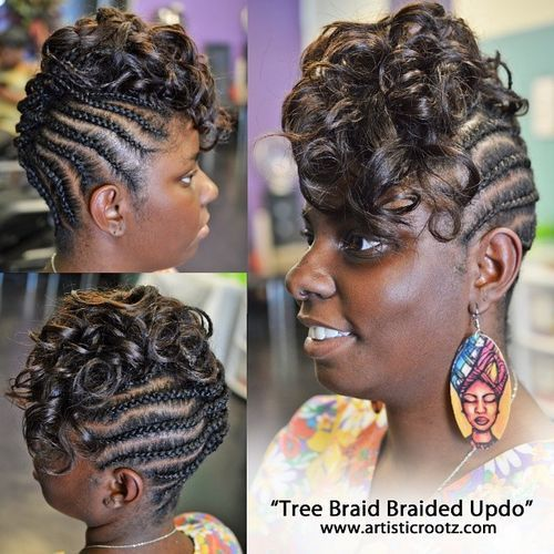 Braided Mohawk Updo With Curls