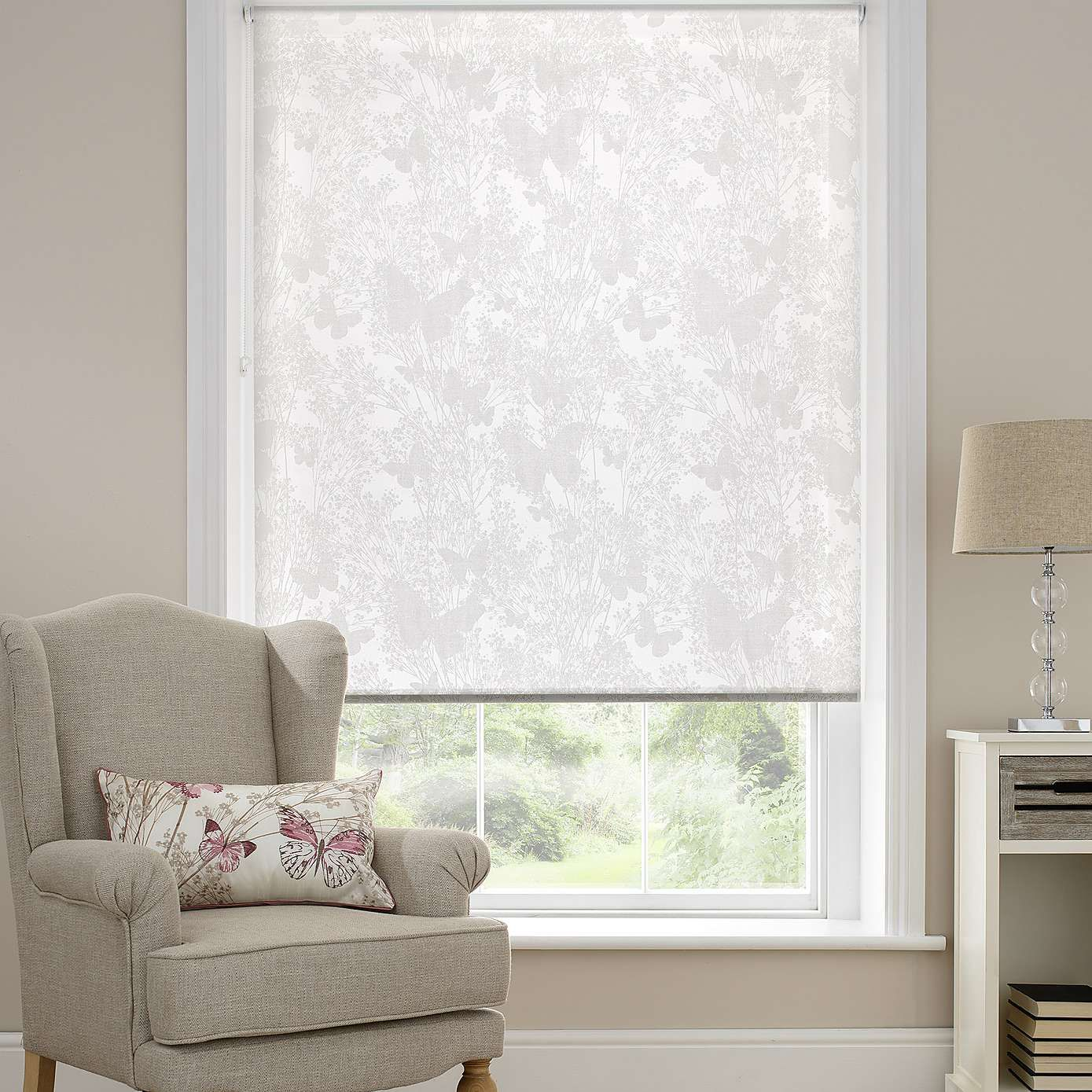 Botanical Butterfly Sheer Roller Blind Dunelm Sheer
