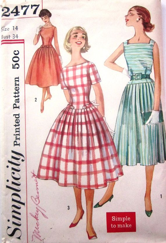 Vintage 1950s Simplicity 2477 Womens Dress Pattern By Denisecraft