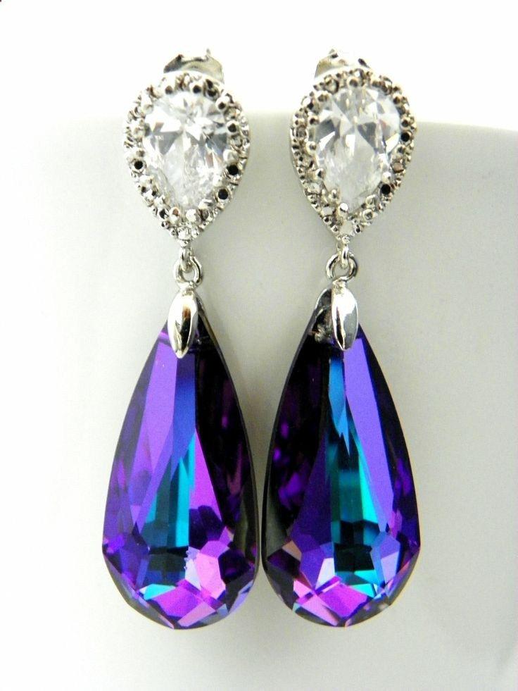 Purple Swarovski Earrings Heliotrope Crystal Cubic Zirconia Post Bridesmaids And Teal Pea Wedding Etsy