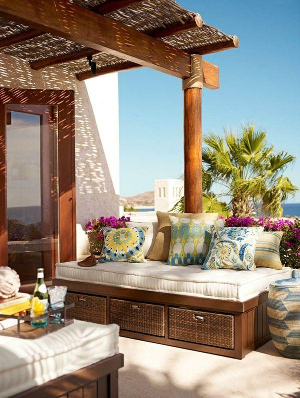 designideen terrasse gestalten rattan sofa mit stauraum Cabane - markisen fur balkon design ideen
