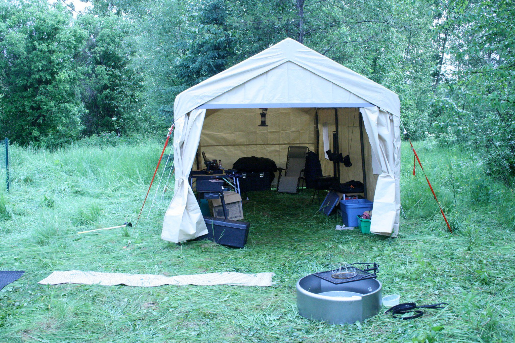 Portable Garage Camp setting up | Camping (^ ^) | Portable