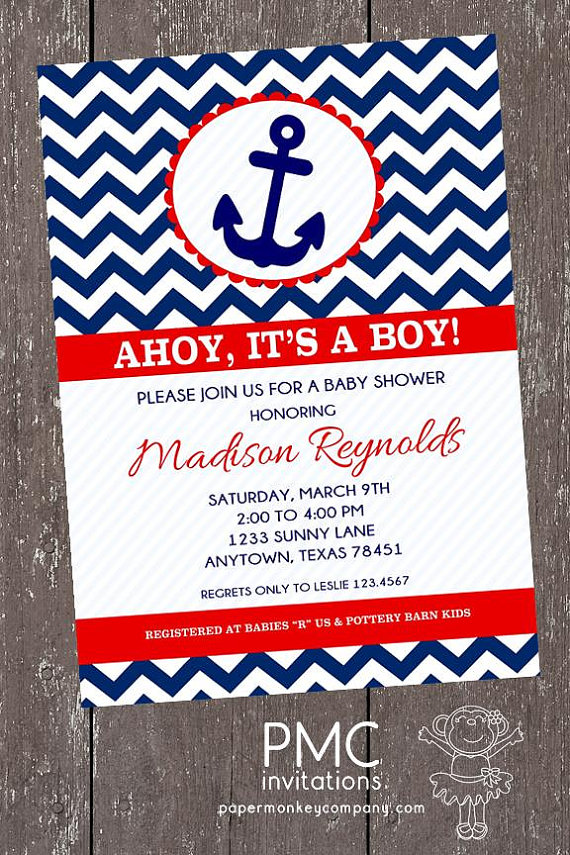chevron nautical baby shower invitations - 1.00 each with envelope, Baby shower invitations