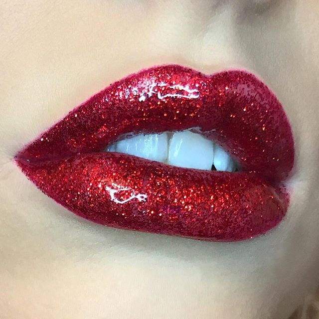 Glossy Red Glitter Lip Glitter Lips Red Glitter Red Lips