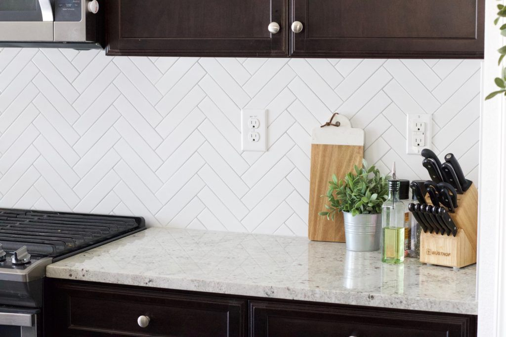 Herringbone Subway Tile Backsplash Reveal In 2020 Herringbone Subway Tile Herringbone Tile Backsplash Kitchen Herringbone Tile Backsplash