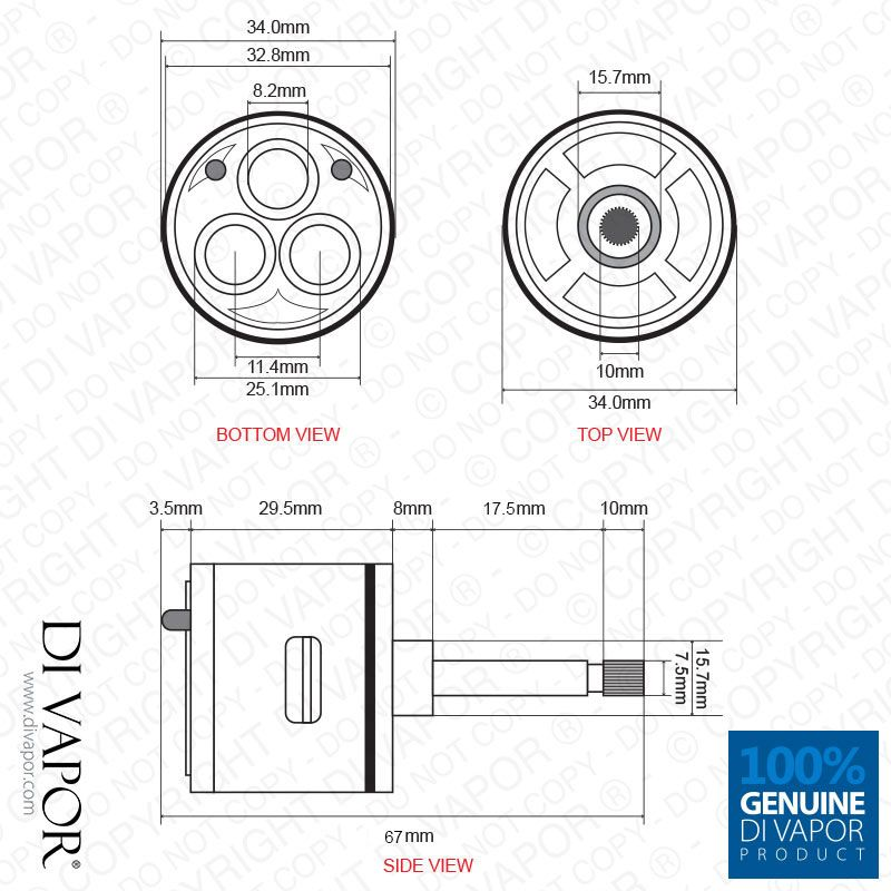 Genuine Di Vapor Three Way Diverter Cartridge. This Diverter Cartridge Is  Used To Switch Water Flow Between Three Different Functions In The Shower.