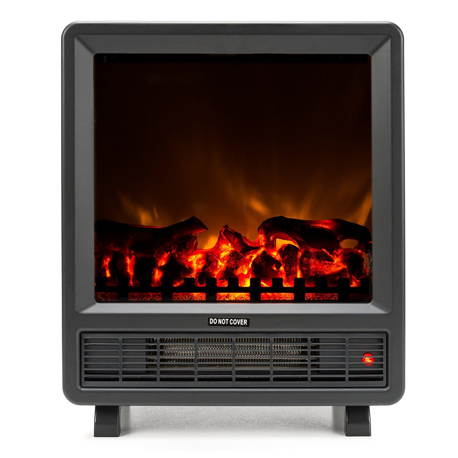 mini free standing electric fireplace stove 18 inch black portable