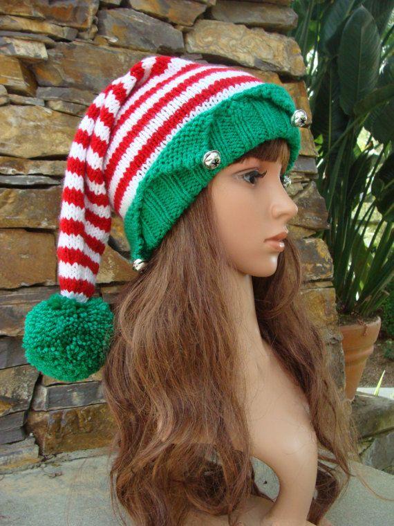 bcaa6b4196bd1 Diy knitting pattern 59 chevron double pom pom santa hat with fold ...