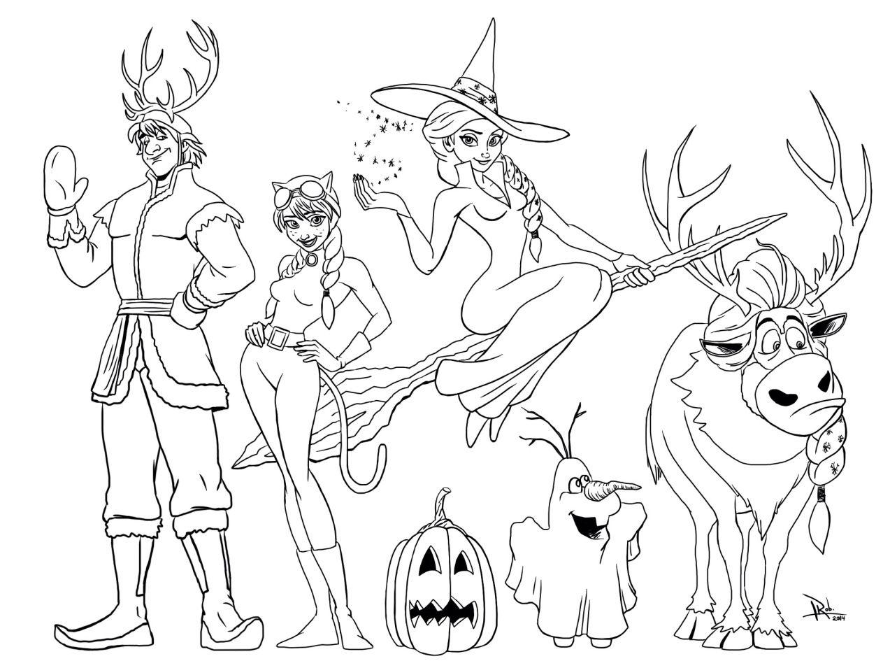 Frozen Halloween Coloring Page - mommy in SPORTS | Patrones y Bordado