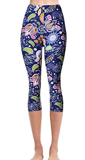 VIV Collection Print Brushed Ultra Soft Cropped Capri Leggings Regular and Plus (Sizes XS - 2XL) Listing 2 at Amazon Women's