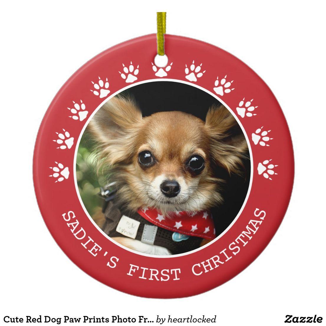 Cute Red Dog Paw Prints Photo Frame Christmas Ceramic
